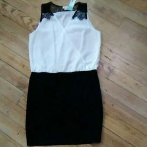 New Pixley Lace Trim Sleeveless Black/White Dress